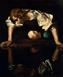 """Narcissus"" by Caravaggio (circa 1597–1599) depicts Narcissus gazing at his own reflection."