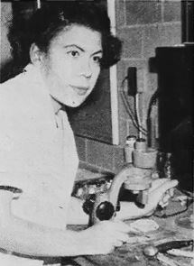 Undated photograph of Margaret S. Collins working in the lab. Source: Wikepedia.